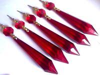 5 Dark Red 80mm Icicles Chandelier Crystals Pendant Suncatcher Ornament