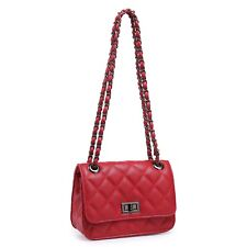 Ladies Quilted Over Shoulder Chain Clutch Bag (Red)