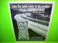 Bally EXPRESSWAY Original Vintage 1971 Flipper Game Pinball Machine Sales Flyer