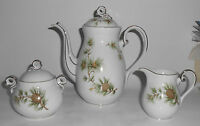 Seyei Porcelain China Pine Cone/Needles Demitasse Coffee/Creamer/Sugar Set