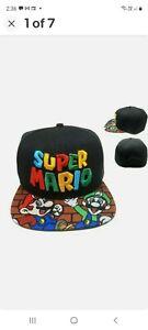 Super Mario Bros Hat Cap Mens Boys Retro 100% Cotton Nintendo 3DS SNES Wii AUS