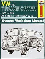 Haynes 082 Manual for VW 1600 Transporter 1968-1979