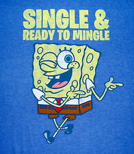 Spongebob Squarepants SINGLE & READY TO MINGLE T Shirt Size XXL Nickelodeon EUC