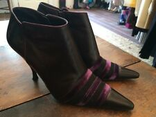 MICHEL PERRY Black Leather Mesh Purple Velvet Trim Pointed Ankle Boot Heels 38.5