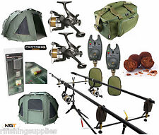 COMPLETE CARP FISHING SET 2 X RODS, REELS ALARMS BAG + NGT FORTRESS BIVVY TENT