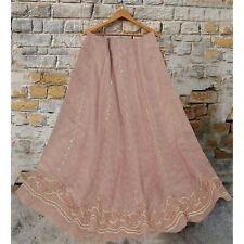Sanskriti  Pink Long Skirt Pure Tissue Silk Hand Beaded Ethnic Unstitched