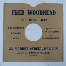 "78 rpm 10"" card gramophone record sleeve/ cover FRED WOODHEAD ,  HALIFAX"