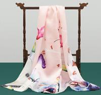 100% Satin Silk Scarf Women neckerchief Shawl Wrap Floral pink blue red SJ19-05