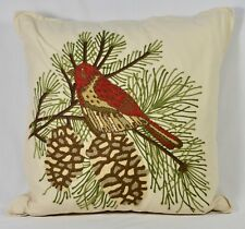 "Pottery Barn 18"" Euro Pillow Bird Crewel Embroidery Throw Pine Cone Lodge Cabin"