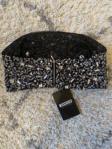 Carli Bybel X Missguided   Black Embellished Bandeau Top   Size 10