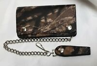 """Camo Leather Biker Trucker Wallet 6"""" x 3.5"""" With 12"""" Chain MADE IN USA"""