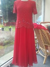 Vintage Ladies 70s Gatsby style Dress. Red Size 14