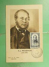 DR WHO 1948 FRANCE MUSEUM SLOGAN CANCEL PROUDHON MAXIMUM CARD ART  g19465