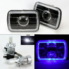 "7X6"" Black Projector Glass Blue Halo Headlights & 6K 36W LED H4 Bulbs Pair Dodge"