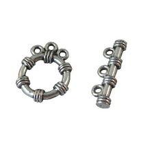 20PCS Tibetan silver 3-strand bar circle toggle clasp A8994