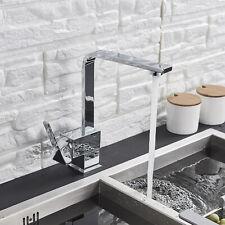 Chrome Swivel Kitchen Sink Faucet Single Handle Commercial Brass Tap Deck Mount