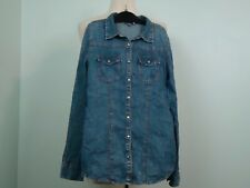 OVS Girl's Blue Snap Button Denim Long Sleeve Jean Shirt Size 12 – 13 158 cm