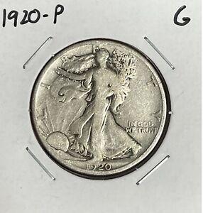 1920-P Walking Liberty Half Dollar - G - Good - 90% Silver