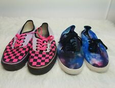 Pink Checkered vans Sneakers and Galaxy print Vans both Womens 7 lot of two pair