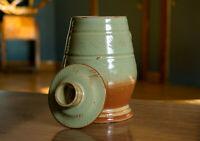 Studio Pottery Mug Signed Vintage Green Brown Sage Stein Vase Pot Ceramics