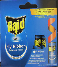 RAID FLY RIBBON GLUE TRAPS For Indoor & Outdoor  No Insecticide 4 Ribbons/Pk