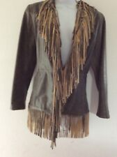 Blucid womans all leather coat jacket with fringe. S mint!