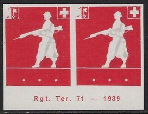 "Switzerland ""Soldier"" stamp: TerrTrup, TER #80, MISSING BLK: RGT.TER.71 - sw9.26"