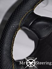 FOR MAZDA 323 ASTINA PERFORATED LEATHER STEERING WHEEL COVER YELLOW DOUBLE STCH