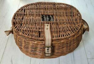 "Wicker Creel Basket Vintage Fisherman Traps Pouch Cage Tackle Case Bag 15"" Wide"