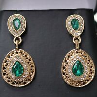 Vintage Antique Green Emerald Dangle Earrings Women Jewelry 14K Rose Gold Plated