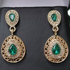 Handmade Pear Cut Green Emerald Dangle Earrings Jewelry 14K Rose Gold Plated