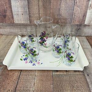 Vintage Avon Wild Violets J Walsh Serving Set with Pitcher & 7 Glasses & Tray