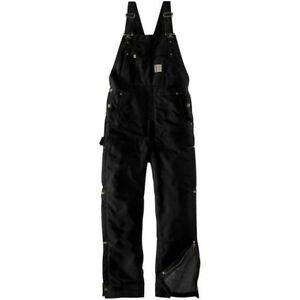 Carhartt Mens 104393 5XL Firm Duck Quilt Lined Insulated Bib Overalls Black NWT