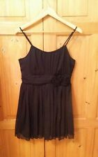 H & M Divided - Black Fully Lined Sleeveless Top with Flower Detail - Size 14
