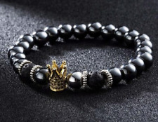 Crown Hematite Volcanic Lava Stone Power Bead Aromatherapy Bracelet Titanium