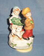 Vtg Porcelain Boy & Girl Cutting A Christmas Tree Wind-Up Music Box Figurine