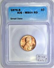 1970-S Small Date Lincoln Memorial Cent ICG MS-64 RD; Nice Coin!