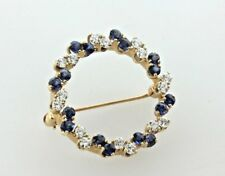& Sapphire Circle Round Brooch Pin 14K Yellow Gold Alternating 0.50 Tcw Diamond