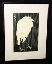 Japanese Woodblock Print Repro White Heron in the Rain by Imoto Tekiho (Mam)