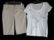 TRIBAL Walking Shorts 10 & IZOD Embroidered Rosette Tee M ~ EXC!