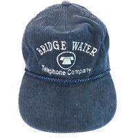 Vintage Bridge Water Telephone Company Corduroy Rope Strapback Hat Cap