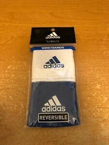 Adidas Interval Reversible Wristband - White/Blue One Size Fits All Brand New