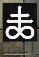 "4 x 3.5"" Leviathan Cross Sticker Bumper Occult Baphomet Satanic Pentagram Skull"