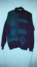 TRUE VINTAGE BURGANDY AND GREY WOOLY TYPE POLO NECK JUMPER 48 CHEST