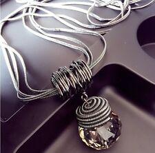 Crystal Round Long Chain Pendant Necklace New Women Choker Statement Bib Jewelry
