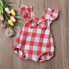 Buffalo Plaid Romper Newborn Baby Girls Boho Bodysuit Summer Clothes Outfits