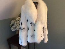 QIANYUHONGREN China Deluxe Black/White Rabbit/fox/leather Fur unique Jacket sz S