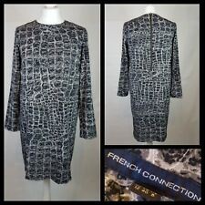 French Connection Black Cream Grey High Low Crocodile Print Dress Size 12