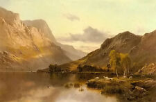 Oil painting alfred de breanski snr - near dunkeld with sheep by the bank canvas