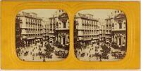 Italia Napoli Via Toledo Animata c1865 Foto Stereo Diorama Albumina Vintage